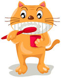 Cat  brushing teeth Stock Image