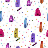 Cat and bubble seamless pattern. Cat and bubble.Watercolor hand drawn illustration. Colorful cats texture.Seamless pattern Stock Photos