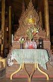 Cat on the Buddha image at Nga Phe Chaung Monastery Myanmar Stock Photos