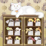 Cat buffet. Calendar 2011, year of cat,  vector illustration Royalty Free Stock Image