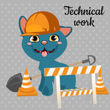 Cat builder in a helmet Stock Image