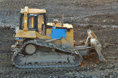 Cat bulldozer on site Royalty Free Stock Photos