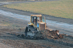 Cat bulldozer on site at work Royalty Free Stock Images