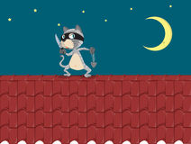 Cat burglar. Illustration of a cat on a roof Stock Photos