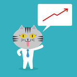 Cat in business quote with profit graph Stock Photography