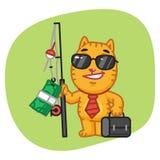Cat Businessman Holding Fishing Rod con soldi Fotografia Stock Libera da Diritti