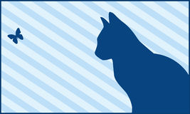 Cat and butterfly. Silhouettes of a cat and the butterfly on a blue striped background Stock Photo