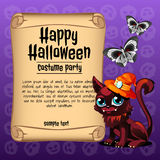 Cat and butterfly with banner happy Halloween Stock Images