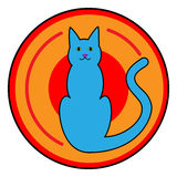 Cat Button Icon Stock Photo