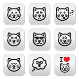 Cat buttons set - happy, sad, angry isolated on white Royalty Free Stock Photography
