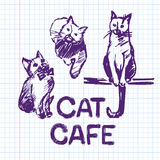 Cat cafe Hand drawn illustration Stock Images