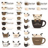 Cat Cafe Logo Royalty Free Stock Photos