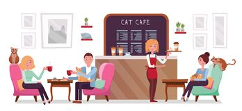 Cat cafe shop, people single and couple relaxing with kitties. Place interior to meet, have a rest with pets, waitress tray with vector illustration