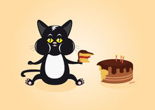 Cat and Cake. Cat caught in the act. Funny vector illustration of a cat with cake. Cartoon Character Cat. Cat with a mouthful Royalty Free Stock Photos
