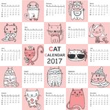 Cat calendar. 2017. Cute cats for every month. Vector Royalty Free Stock Images
