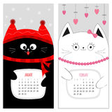 Cat calendar 2017. Cute funny cartoon character set. January February winter month.. Snow flake, red hat, scarf. Hanging pink heart, bow, bead. Happy Valentines Stock Image