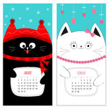 Cat calendar 2017. Cute funny cartoon character set. January February winter month. Snow flake, red hat, scarf. Hanging pink heart Royalty Free Stock Photography