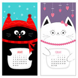 Cat calendar 2017. Cute funny cartoon character set. January February winter month. Snow flake, red hat, scarf. Hanging pink heart Stock Photos