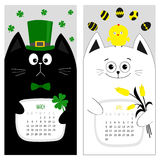 Cat calendar 2017. Cute funny cartoon character set. March April spring month.. Green hat tye bow chicken egg. Clover leaf, tulip flower. Happy Patricks day Royalty Free Stock Images