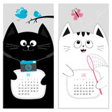 Cat calendar 2017. Cute funny cartoon character set. May June spring summer month.  Stock Photos