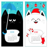 Cat calendar 2017. Cute funny cartoon character set. November December autumn winter month. Rain umbrella Santa red hat Hanging Me. Rry Christmas ball sock Candy Royalty Free Stock Photography