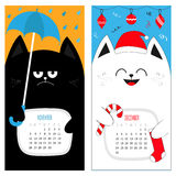 Cat calendar 2017. Cute funny cartoon character set. November December autumn winter month. Rain umbrella Santa red hat Hanging Me Stock Image