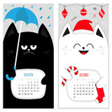 Cat calendar 2017. Cute funny cartoon character set. November December autumn winter month. Rain umbrella Santa red hat Hanging Merry Christmas ball sock Candy Royalty Free Stock Photos