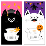 Cat calendar 2017. Cute funny cartoon character set. September October autumn month. Orange leaf Graduation hat Academic Cap Bat s. Pider, flag pumpkin candy Stock Photography