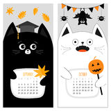 Cat calendar 2017. Cute funny cartoon character set. September October autumn month. Orange leaf Graduation hat Academic Cap. Bat spider, flag pumpkin candy Stock Photography
