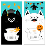 Cat calendar 2017. Cute funny cartoon character set. September October autumn month. Orange leaf Graduation hat Academic Cap. Bat. Spider, flag pumpkin candy Stock Image