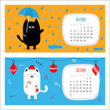 Cat calendar 2017 horizontal. Cute funny cartoon character set. November December autumn winter month. Rain umbrella Santa red hat Hanging Merry Christmas ball Royalty Free Stock Image