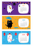 Cat calendar 2017 horizontal. Cute funny cartoon character set. October November December month. Rain umbrella Santa hat Merry Christmas ball sock Candy cane Royalty Free Stock Photo