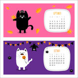 Cat calendar 2017 horizontal. Cute funny cartoon character set. September October autumn month. Orange leaf Graduation hat Academic Cap Bat spider flag pumpkin Royalty Free Stock Photos