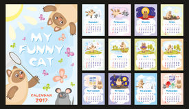 Cat calendar 2017. Wall or desk monthly calendar for year 2017 with funny cat and mouse. Cheerful colourful illustrations about life of one cat. Vertical Royalty Free Stock Photo