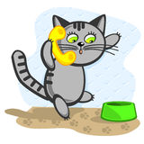 Cat calls. The Cat calls up. In The Paw keep telephone tube vector illustration