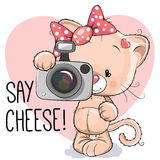 Cat with a camera. Cute cartoon cat girl with a camera on a gray background Royalty Free Stock Photos