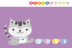 Cat card. Cute cat holding love letter vector illustration
