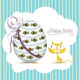 Cat_card de Easter Fotos de Stock