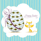Cat_card de Pascua fotos de archivo