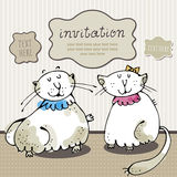 Cat card invitation. Vector illustration of holiday greeting frame with cats Royalty Free Stock Image