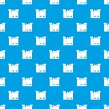Cat in a cardboard box pattern seamless blue. Cat in a cardboard box pattern repeat seamless in blue color for any design. Vector geometric illustration Stock Image