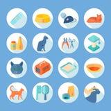 Cat care  flat round icons set Stock Image