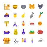 Cat care pet shop flat colorful icons Stock Images