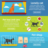 Cat care tools banner horizontal set, flat style. Cat care tools banner horizontal concept set. Flat illustration of 3 cat care tools vector banner horizontal Royalty Free Stock Photography