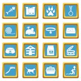 Cat care tools icons azure Royalty Free Stock Photo