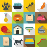 Cat care tools icons set, flat style. Cat care tools icons set. Flat illustration of 16 cat care tools vector icons for web Stock Illustration