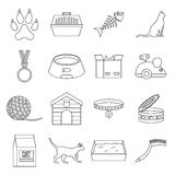 Cat care tools icons set, outline style. Cat care tools icons set. Outline illustration of 16 cat care tools vector icons for web Stock Illustration