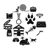 Cat care tools icons set, simple style. Cat care tools icons set. Simple illustration of 16 cat care tools vector icons for web Royalty Free Illustration