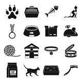 Cat care tools icons set, simple style. Cat care tools icons set. Simple illustration of 16 cat care tools vector icons for web Stock Illustration