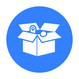 Cat in a carton box icon of vector illustration for web and mobile Stock Photos